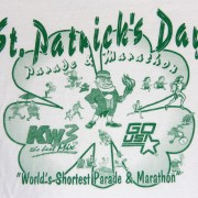The front of the 2000 St. Patrick's Day Parade & Marathon shirt, a well-preserved relic of Wenatchee running lore.