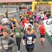 Runners take off at the Leavenworth Oktoberfest Marathon and Half-Marathon event.