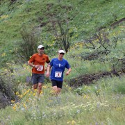 The first Horse Lake Trail Run attracted about 140 people, including Will Young (left) and Mike Broxson.