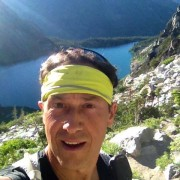 Scott Volyn, in a self-portrait, while on a training run above Lake Colchuck in the Washington Casades.
