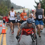 The start of the marathon began in inclement weather on South Lakeshore Road near Field's Point Landing.