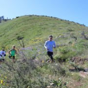 Several runners stick together in a pack Saturday on the Homestead Trail.