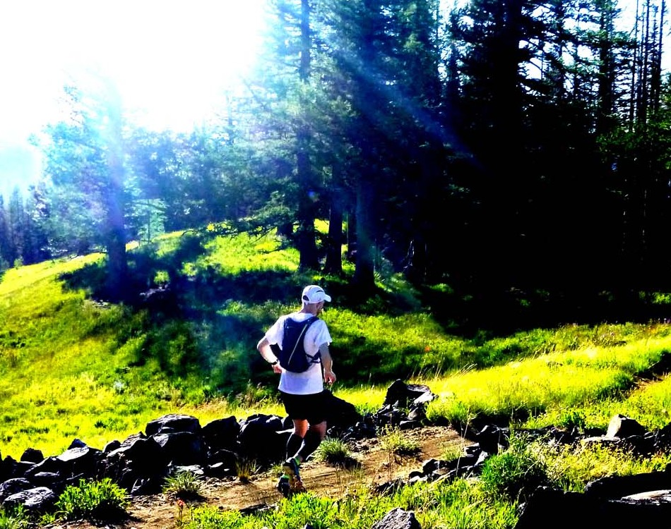 Kyle taking off from the Mission trailhead.