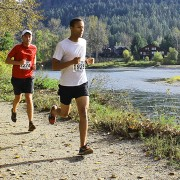 The Leavenworth Oktoberfest Marathon and Half-Marathon courses take runners through Waterfront Park along the Wenatchee River.