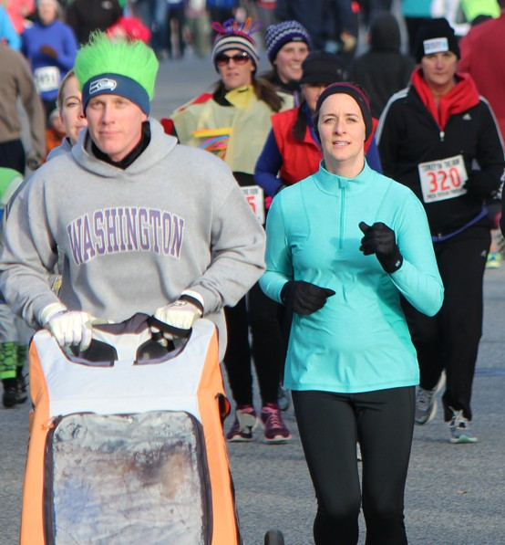 Runners and walkers do the 'rollercoaster' on Woodward Drive at last year's Turkey on the Run.