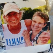 Rhyner carried this photo of Maui running legend Billy Conner, who passed away this past January at age 65, while completing today's Boston Marathon. Conner, who occasionally resided in Chelan, was a finisher in the last 38 Maui Marathons. He completed more than 100 marathons in his lifetime. Wenatchee's Frank Cone gave Rhyner the photo of Conner.