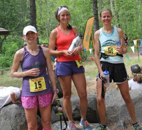 The top runners in the Red Devil women's 25K race, from left to right, were Selina Danko (third place), Jody Chinchen (first) and Marlene Farrell (second).