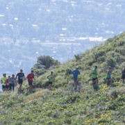 Trail runners in Sunday's Horse Lake event emerge from around the corner on the Homestead Trail.