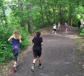 Osborn Elementary students, part of the Trail Blazers group, follow the trail in Leavenworth during the harrier run.