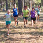 Members of the Upper Valley Running Club run along the trails near Sleeping Lady.