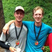 Cyrus Desmarais, left, his brother, Niles, center, and Barry Hodges, right, gather after the Red Devil 25K Trail Run in May. The Desmarais brother tied for first and Hodges took third in the May trail race south of Cashmere.